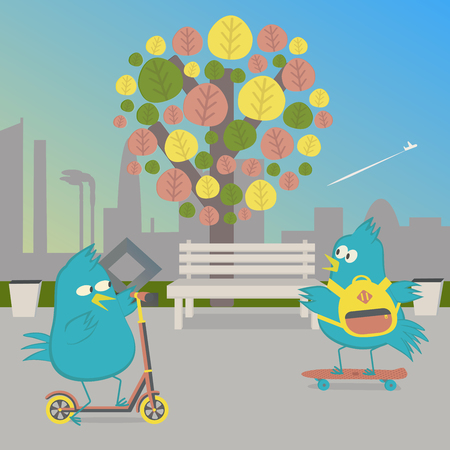 skateboard park: Birds ride in the Park. Bird on a skateboard and a bird on the push scooter. Vector illustration.
