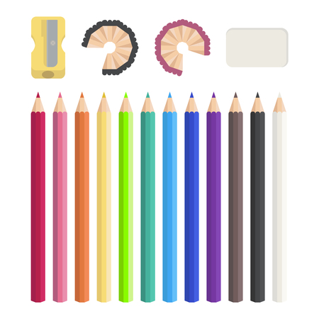 sharpener: Colored pencils, sharpener, eraser. Illustration