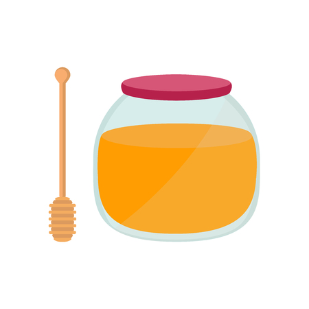 curative: Honey in jar with a spoon for honey. Illustration
