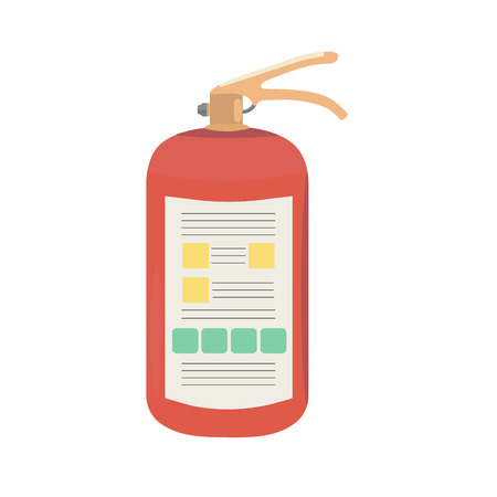 suppression: Fire extinguisher with instructions. Vector illustration.