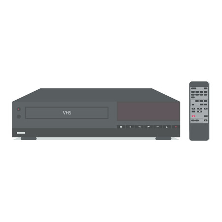 vcr: VCR with remote control. Vector illustration.