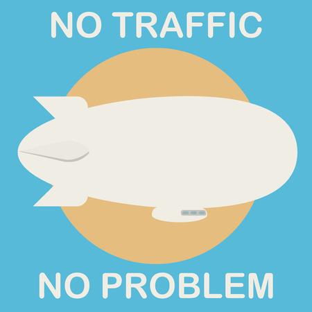 Zeppelin in the air. No traffic, no problem. Vector illustration. Illustration