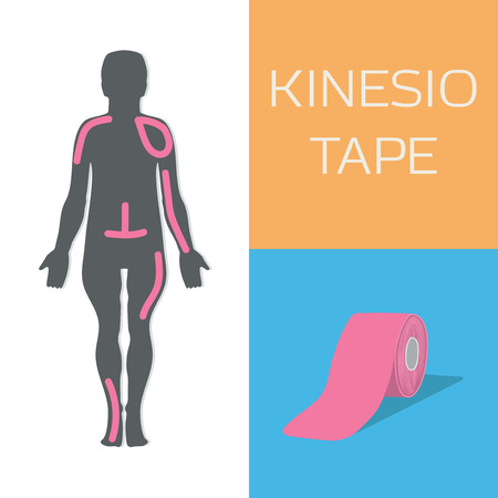Kinesio tape improves postere and reduces swelling. Vector illustration.