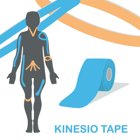 Kinesio tape improves nerve receptors and reduces pain. Vector illustration.