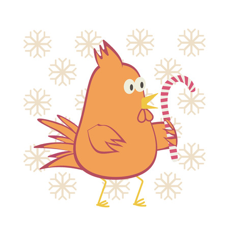 Flame orange rooster with candy. Vector illustration. Illustration