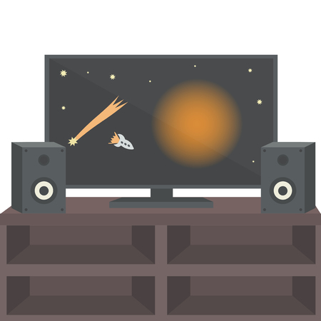 tv unit: TV on the table with speakers. Vector illustration.