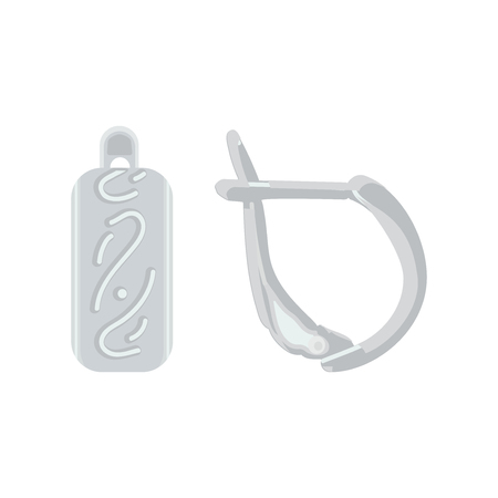 Silver earrings with english lock. Pair of earrings, decorated with precious stones. Vector illustration.