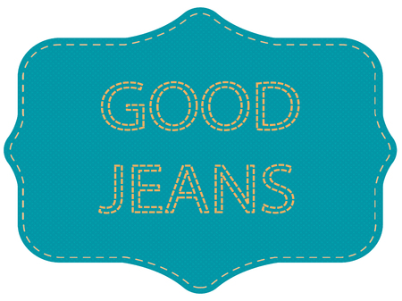 Blue label with inscription. Denim patch with stitching. Vector illustration.