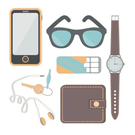 Les choses un homme transporte avec lui: une montre, un téléphone, des écouteurs, clés, portefeuille, gomme à mâcher, lunettes de soleil, casque. Vector illustration.