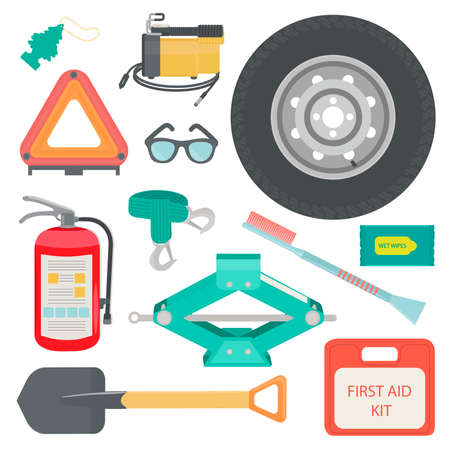 scraper: Freshener, sunglasses, wet wipes, tow rope, first aid kit, fire extinguisher, spare wheel, shovel, brush and scraper, warning triangle, car air compressor. Vector illustration.