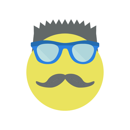 Man with a fashionable haircut with sunglasses and moustache. Yellow smile. Vector illustration.