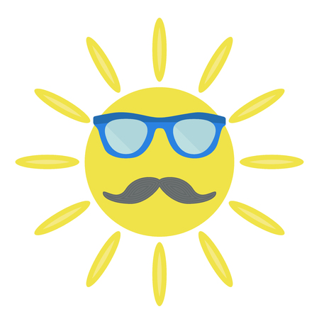 The sun with sunglasses and moustache. Vector illustration.