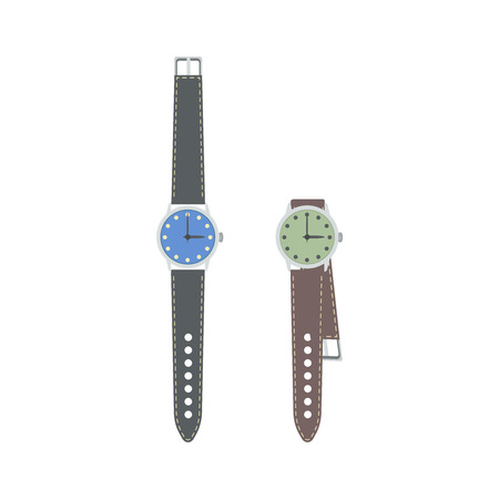 wrist strap: Wrist watch with leather strap. Vector illustration.