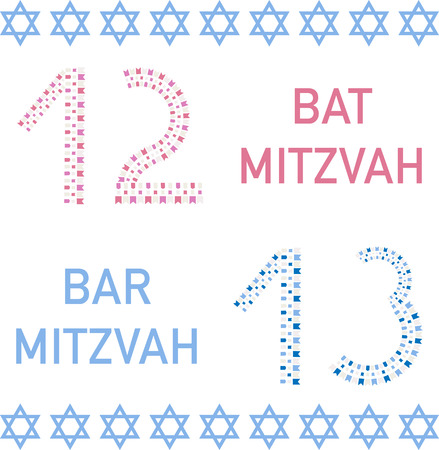 12: Bat mitzvah and bar mitzvah. 12 and 13 years old. Vector illustration.
