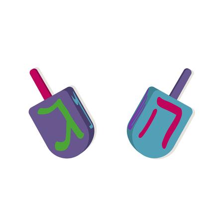 chanukiah: Dreidels with letters for Hanukkah. Vector illustration. Illustration