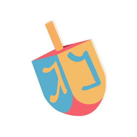 chanukiah: Dreidel with letters for Hanukkah. Vector illustration.