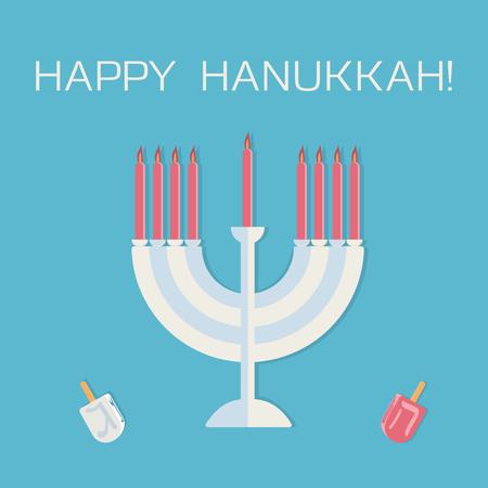 Happy Hanukkah! Menorah with candles and dreidel. Vector illustration.