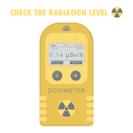 geiger: Gamma Radiation Personal Dosimeter. Check the radiation level. Vector illustration.