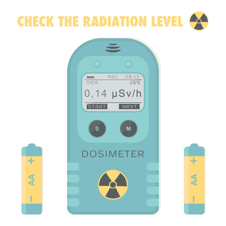 geiger: Gamma Radiation Personal Dosimeter with batteries. Check the radiation level. Vector illustration. Illustration