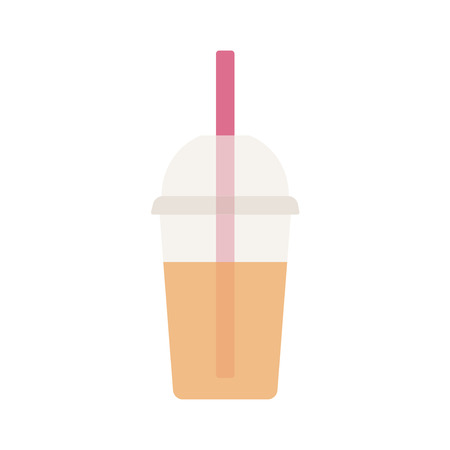 plastic straw: Smoothie in a plastic Cup with a straw. A soft drink. Vector illustration. Illustration