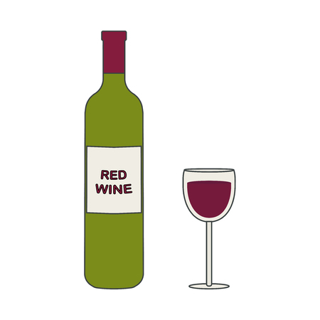 Bottle of red wine and a glass. Vector illustration.