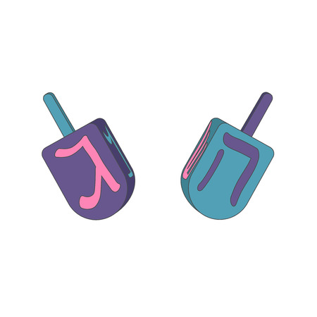 hebrew letters: Dreidels with letters. Happy Hanukkah.
