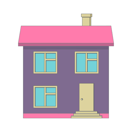 flat roof: A house with a chimney on the flat roof. Front door with steps.