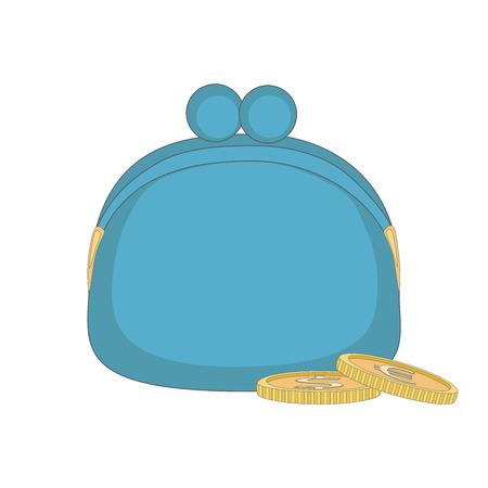 Blue purse with coins.