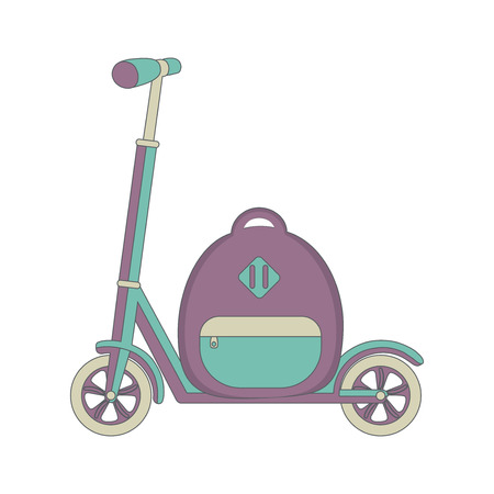 push: push scooter and backpack.