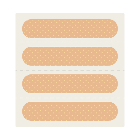 Medical adhesive plasters. Adhesive tape for scrapes and cuts. First aid. Vector illustration.