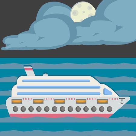 Night on the sea, moon light. Vector illustration. Cruise ship. Flat design style.