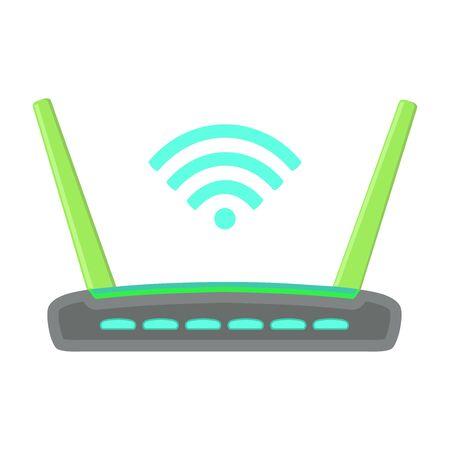 Wi-fi router with antennas. Good internet. Vector illustration. Иллюстрация