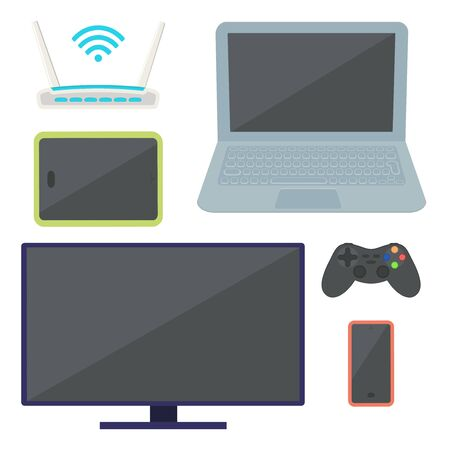 The set of electronic equipment. TV, wi-fi router, tablet, cell phone, gamepad and laptop. Vector illustration.