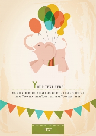 Poster, postcard, card or invitation with a circus elephant, flying on balloons  Image Vector
