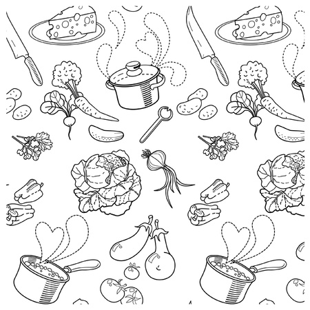 Seamless texture soup cooking Vector