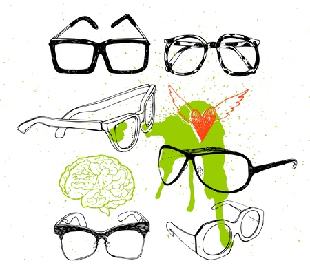 looking through an object: Set glasses and sunglasses Illustration