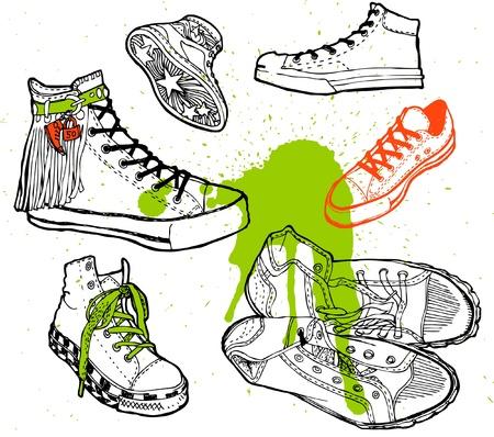 Set of cartoon sneaker Vector