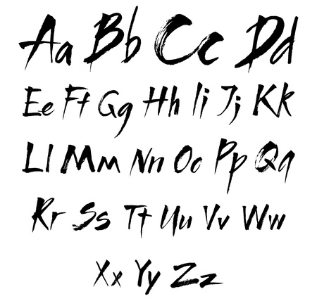 grunge brush: The alphabet in calligraphy brush