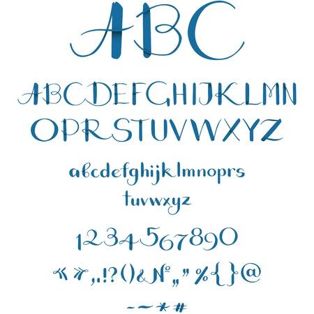 abecedario graffiti: Fuente caligráfica Vectores