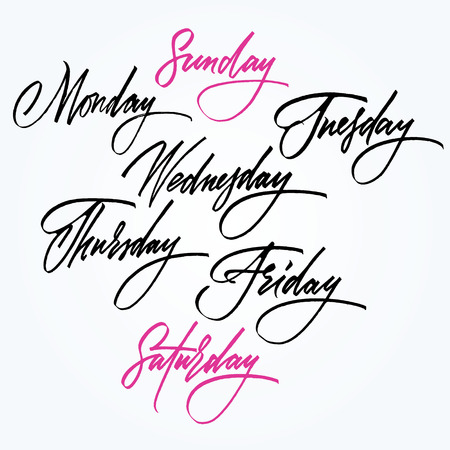 days:  Days of the week  Calligraphy