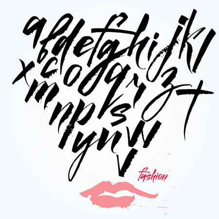 The alphabet in calligraphy brush