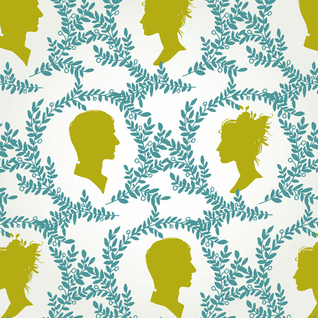 Vintage pattern with silhouettes of men and women Vector