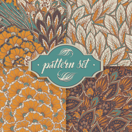 Vector seamless eastern pattern  Set of 4 Patterns Vector