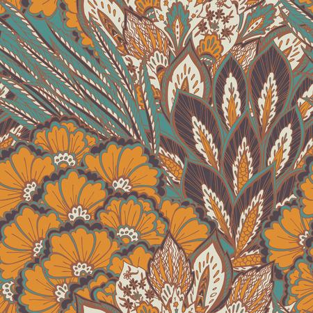 turkey feather: Vector seamless eastern pattern  Illustration