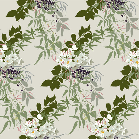 Floral pattern in earthy tones with jasmine, narcissus and black berries Vektorové ilustrace