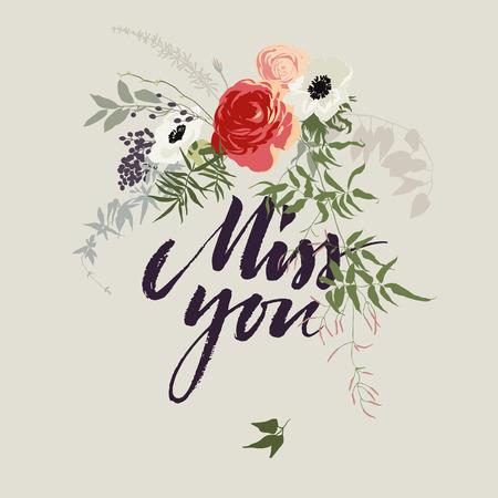 miss: Hand drawn miss you card  Vector illustration Illustration