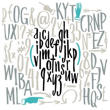 alfabeto graffiti: carattere compatto. Mano disegnato lettere. Lettere dell'alfabeto scritto con un pennello.