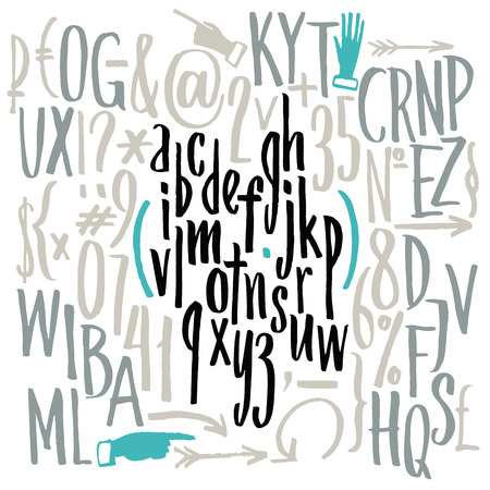 write a letter: compact font. Hand drawn letters. Letters of the alphabet written with a brush.