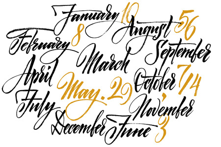 months of the year: Title of months of the year. Numbers from 0 to 9.