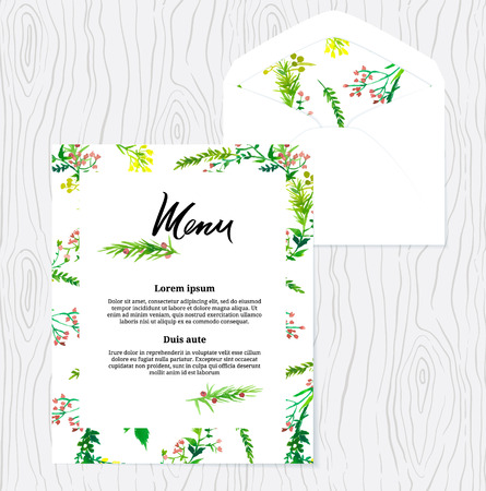 Menu and envelope template with floral design Vector